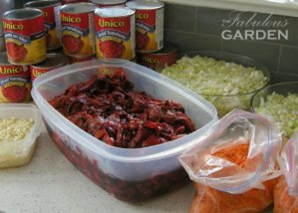 Ingredients for Roasted Red Pepper and Tomato Soup prepped and ready to go