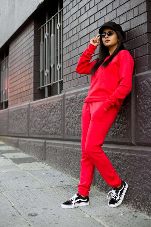 Red tracksuit trend