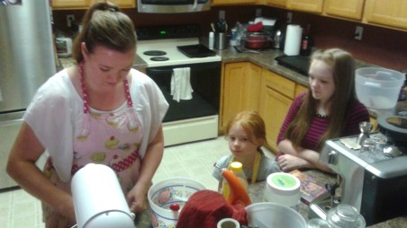 Mixing dough with Auntie Tiff.