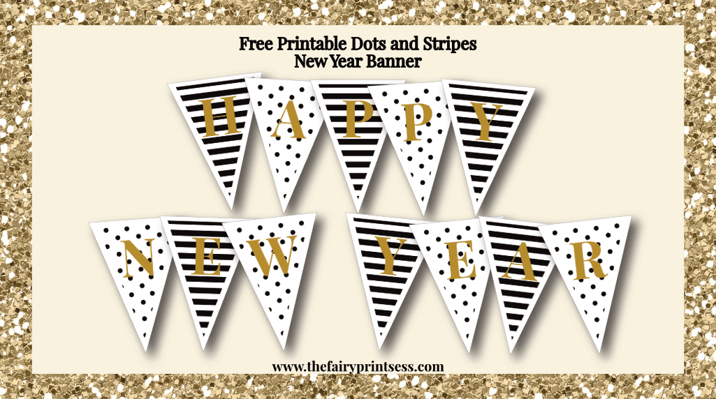 graphic regarding Happy New Years Banner Printable called Content Refreshing Calendar year Banner - Free of charge Printable With Tasteful Dots and