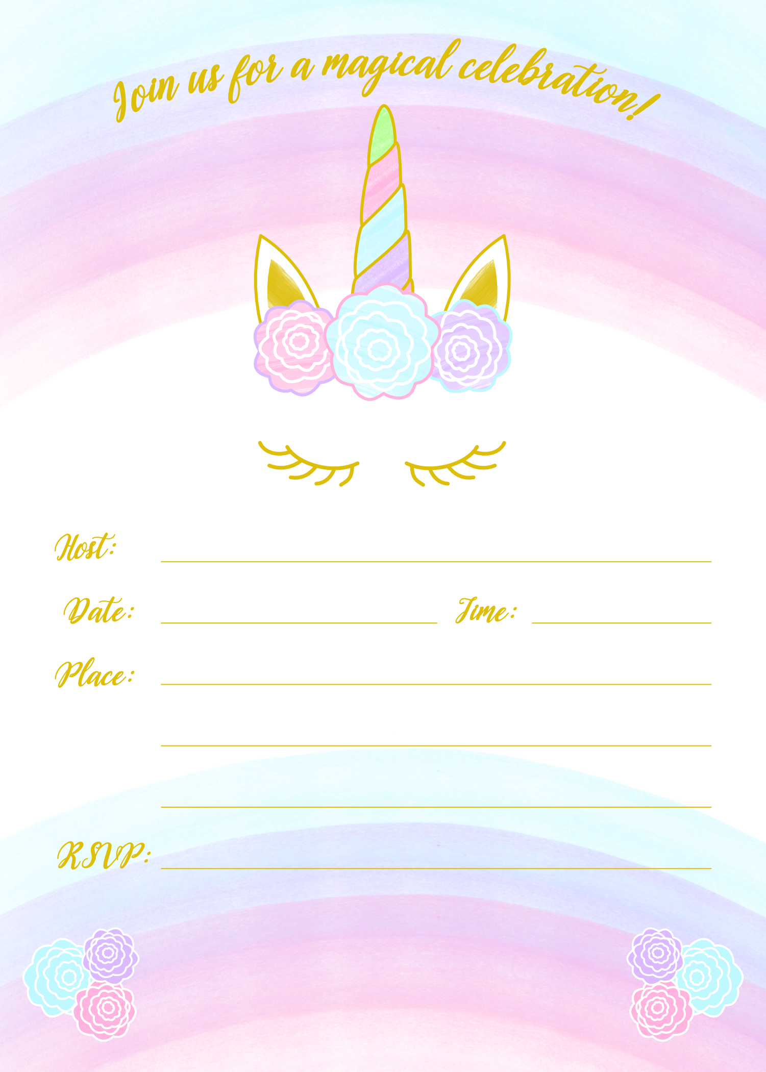 unicorn invitation free printable