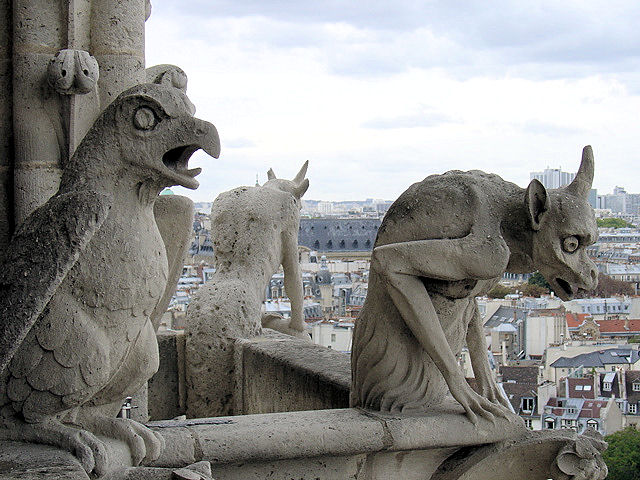 Gargoyles at Notre Dame in Paris.