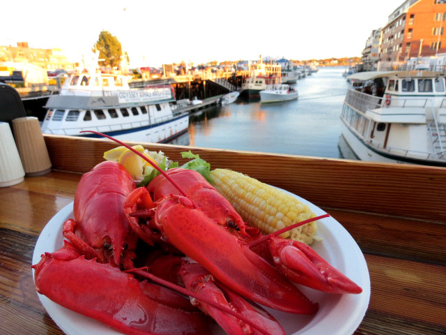 What else are you going to eat lol... This was a good spot to enjoy the sunset and fresh caught lobster at the Portland Lobster Company at the dock where the Portland Discovery Land & Sea Tours are, by Christa Thompson
