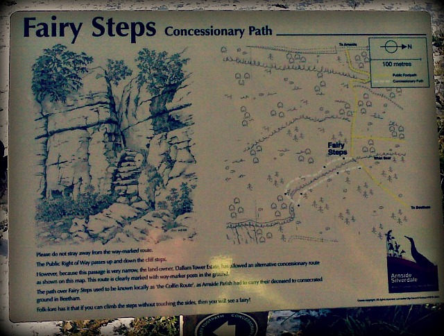 The actual signage at the Fairy Steps site.
