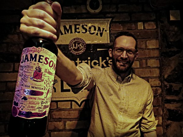 A very proud Dermot Flynn, Dubliner and the artist behind the new Limited Edition Jameson Irish Whiskey bottle.