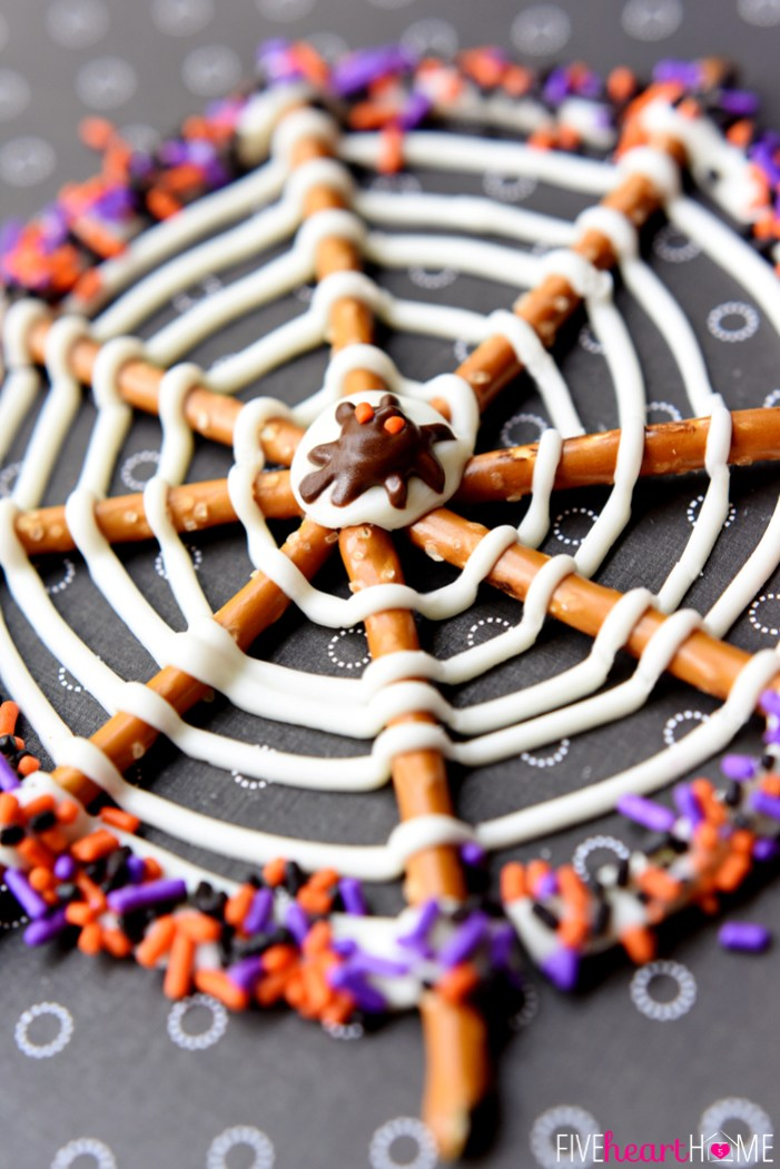 Halloween Recipes Pretzel Candy Spiderwebs