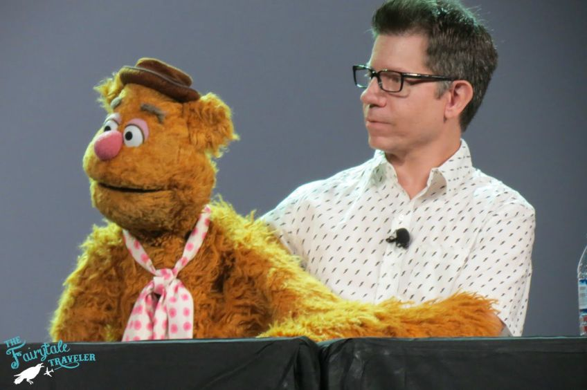 Eric jacobson with Fozzie Bear at The Muppets D23 Expo Panel
