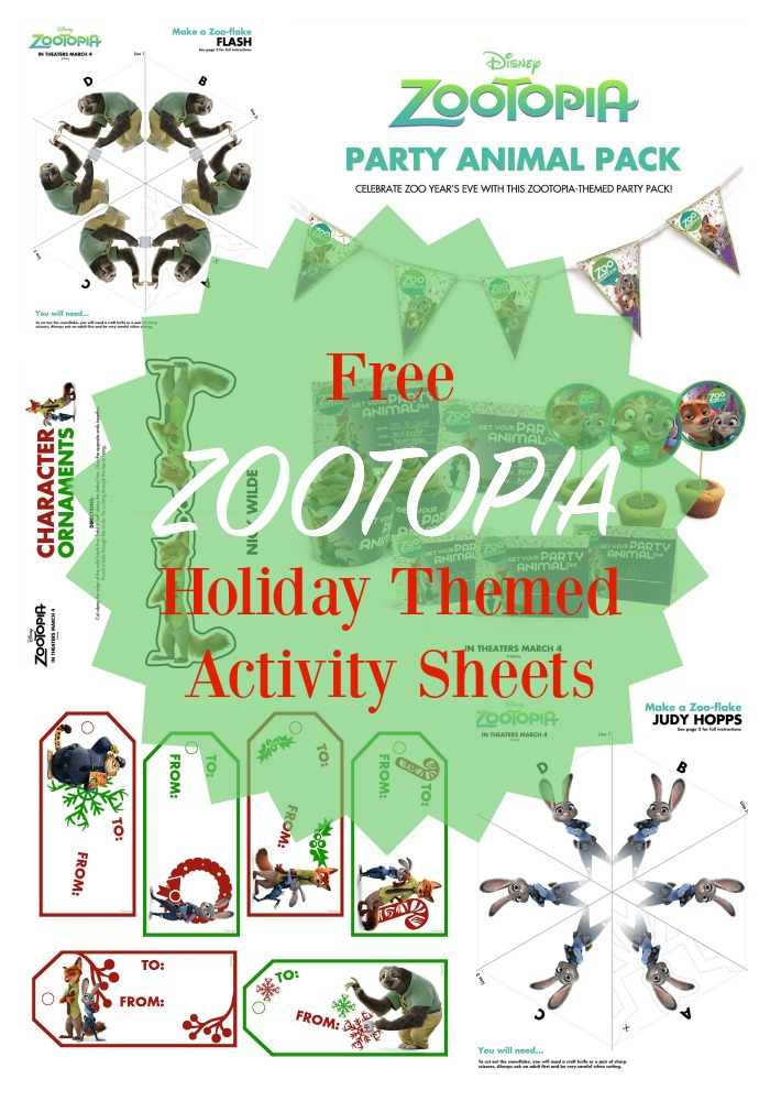 ZOOTOPIA Holiday Themed Activity Sheets
