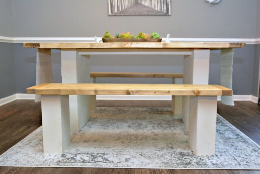 Farmhouse dining room, budget friendly farmhouse decor, handmade furniture