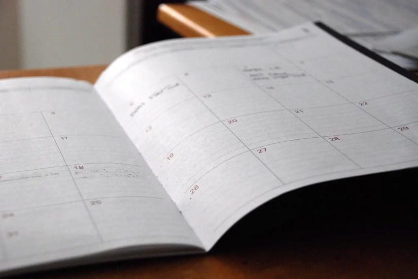 calendar, planner, plan ahead, be spontaneous