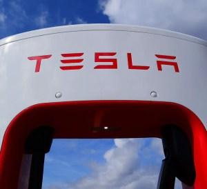 Tesla charging station sign