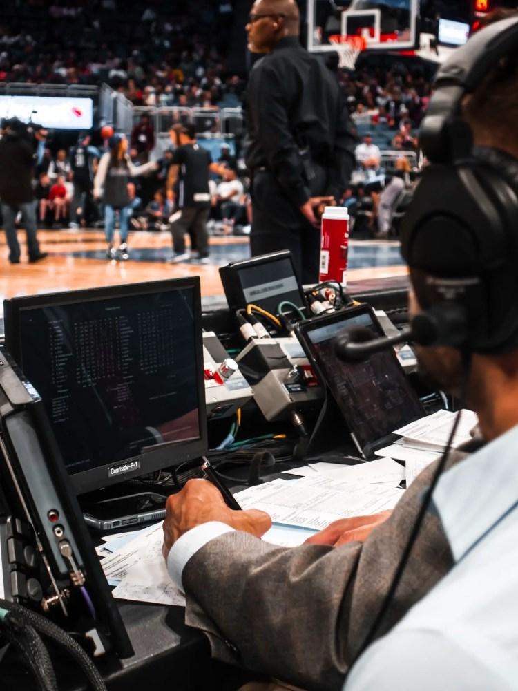 basketball score stats man behind computer game