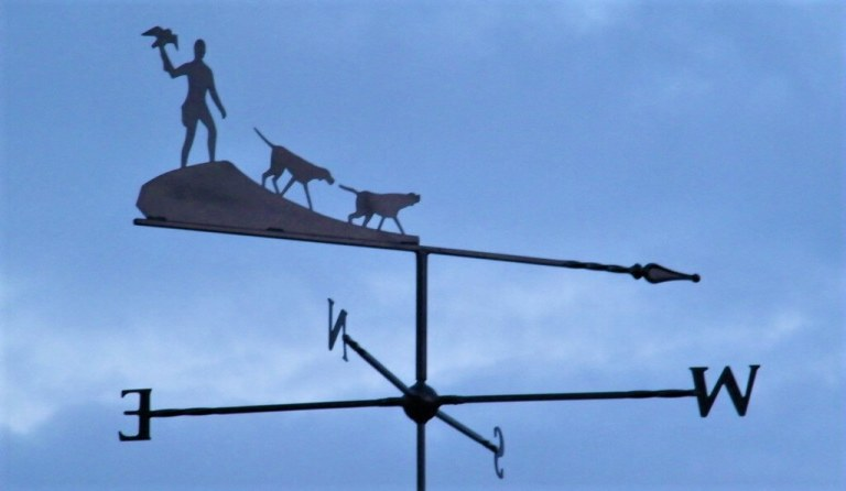 picture of a metal weather vane at The Falconry School