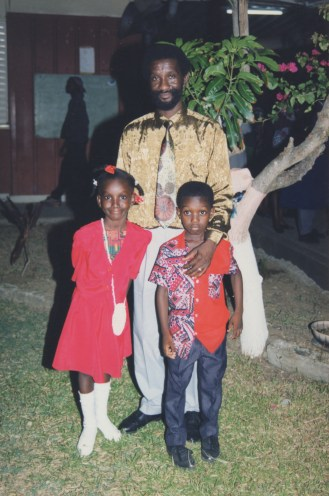 With his children in St. Lucia
