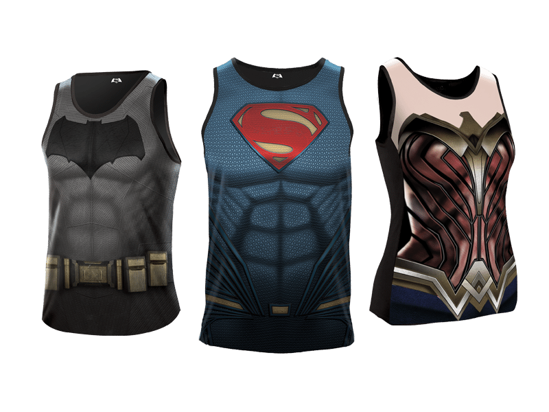 batman v superman heroes run  singlets