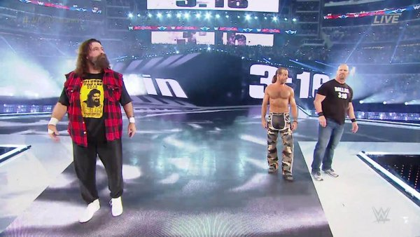 wrestlemania 32 stone cold hbk shawn michaels and mick foley
