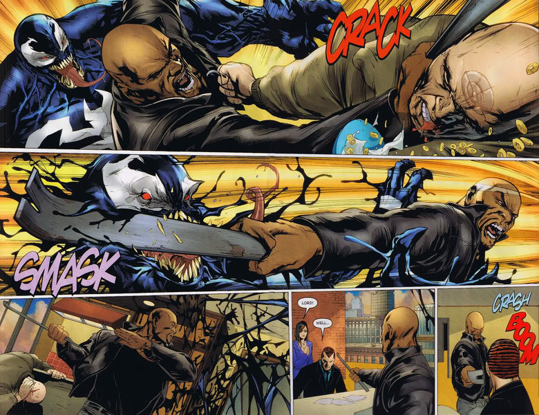luke cage beats the dark avengers with the wrecker crowbar