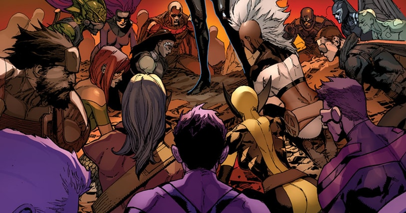 The X-Men and Inhumans Bow Down before White Queen in IvX # 6 Cover