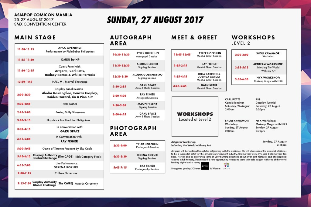 Asiapop comicon 2017 schedule day 3