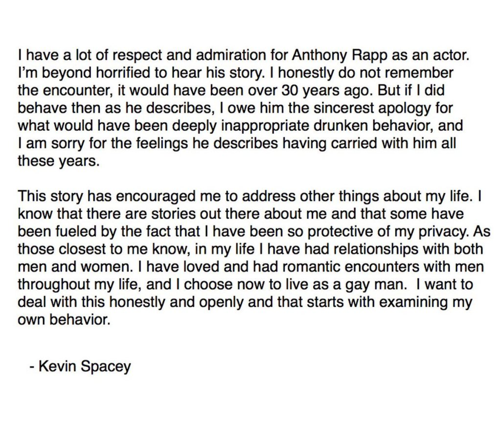 Kevin Spacey admits to being gay on Twitter