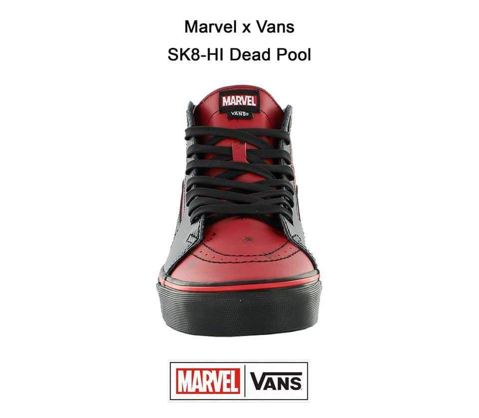 cd8eacfd97800c Another interesting thing about the design for the Marvel x Vans Deadpool 2  SK8-HI Sneakers are those two katanas drawn at the back