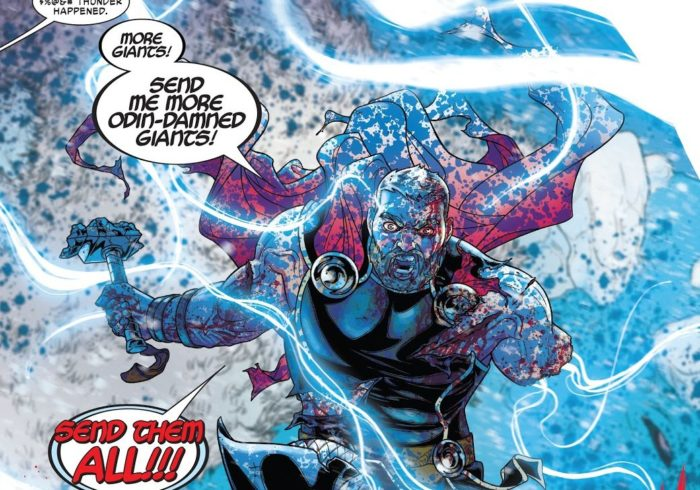 Looks like comics Thor is dual-wielding weapons like MCU Thor (War of the Realms # 4)