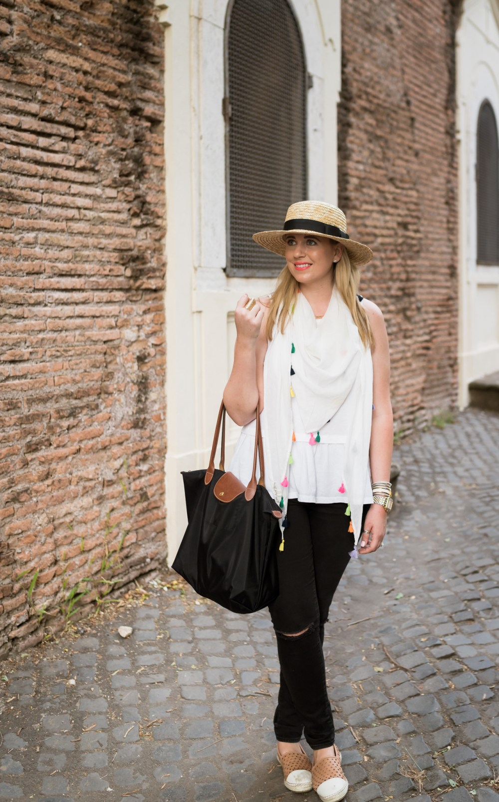 Colorful Tassel Scarf White Peplum Tank Fancy Things Honeymoon Rome