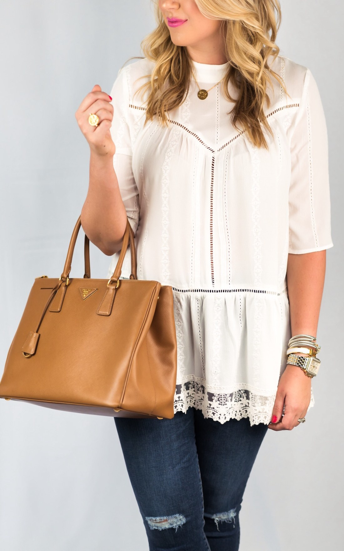 Leith Lace Hem Peasant Top Fancy Things Nordstrom Sale