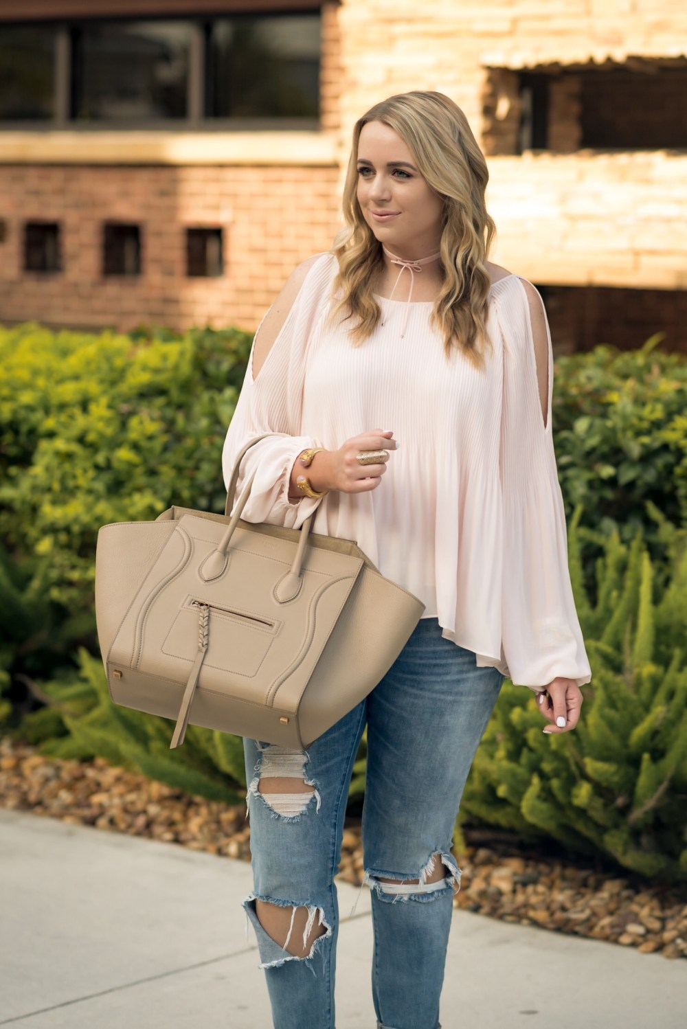 ASTR Pleated Cold Shoulder Top Fancy Things