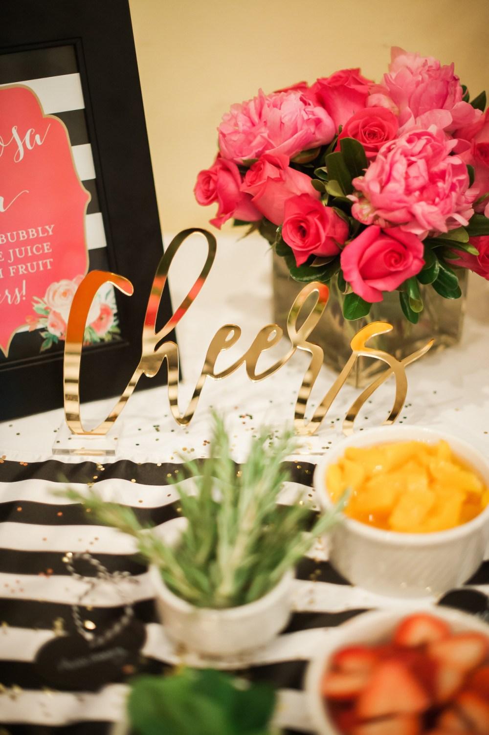 Cheers Acrylic Sign Moon & Lola Fancy Things Kate Spade Bridal Shower