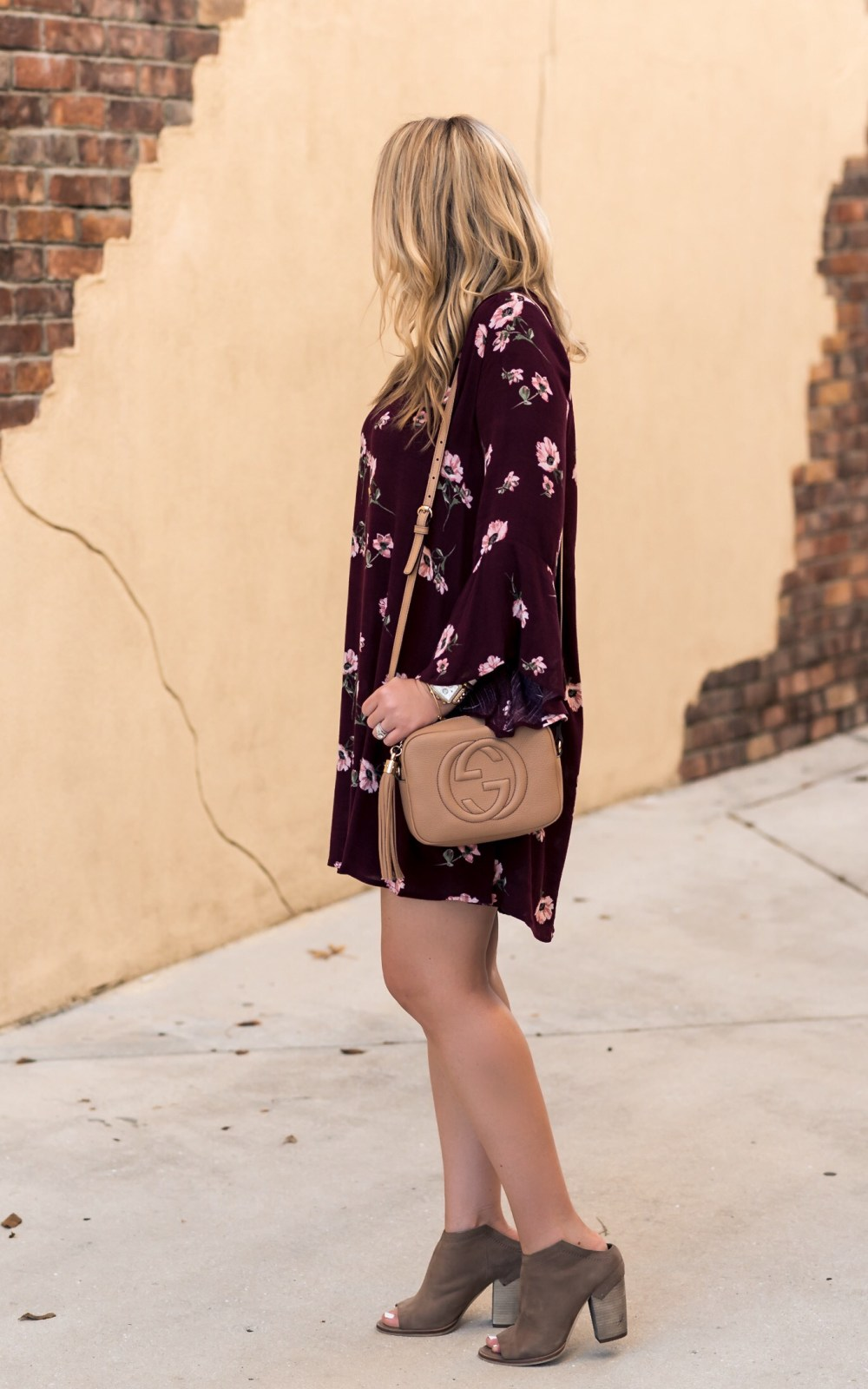Floral Burgundy 'Whitney' Bell Sleeve Woven Shift Dress Fancy Things