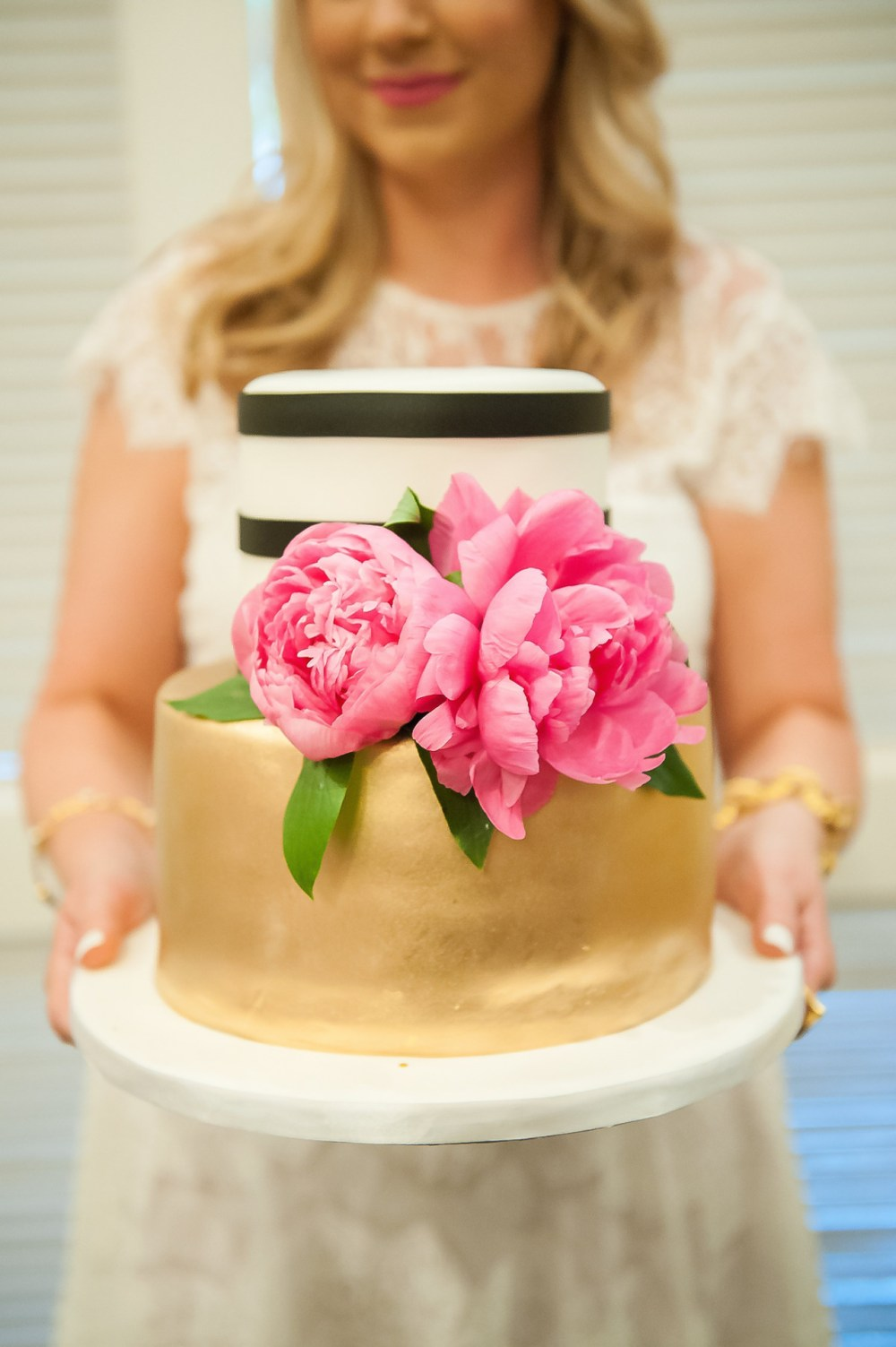 Kate Spade Bridal Shower Gold Striped Cake Pink Peonies