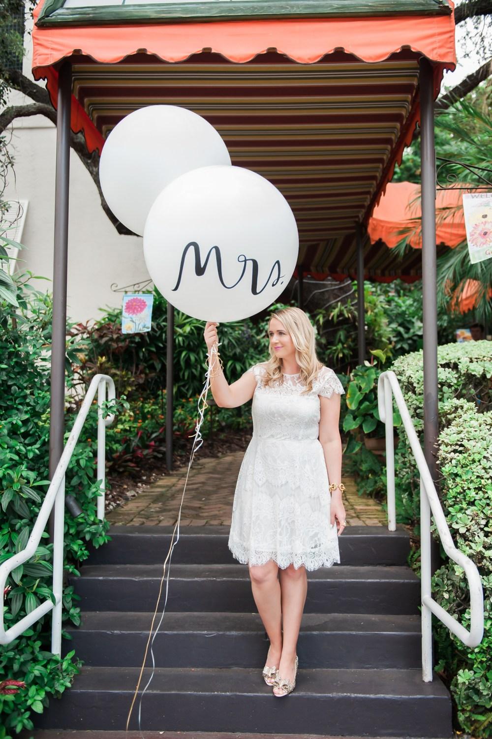 Kate Spade Bridal Shower Mrs. Balloon Fancy Things White Dress