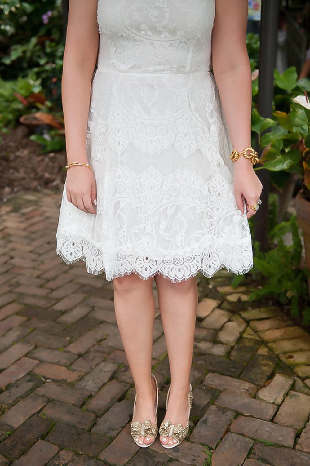 Little White Dress Bride Kate Spade Bridal Shower Gold Glitter Pumps Fancy Things
