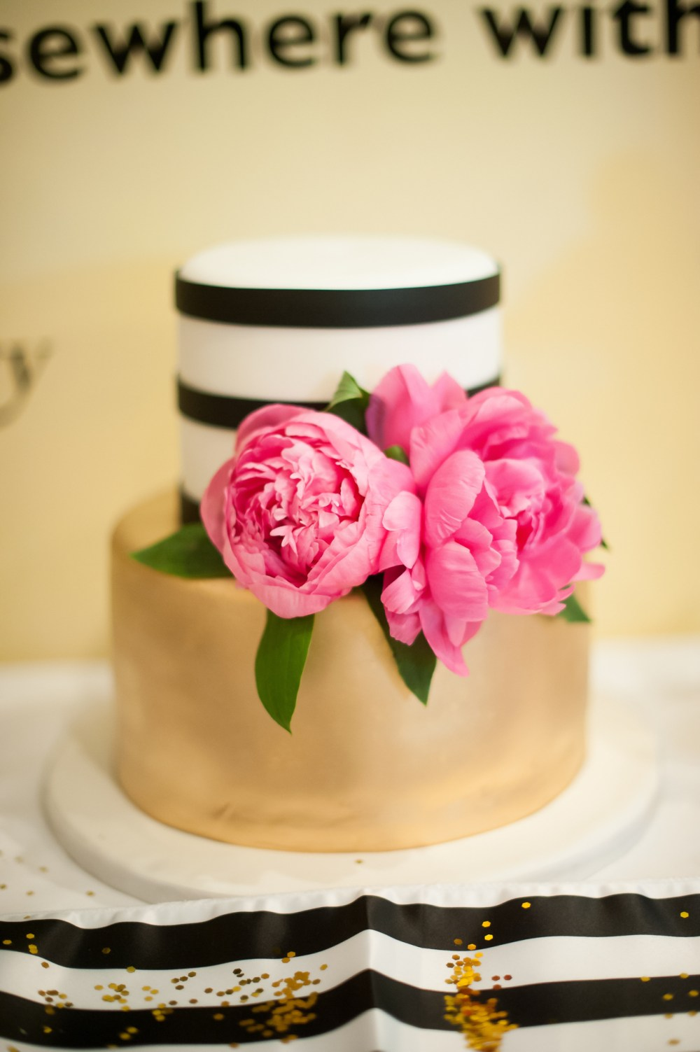 Metallic Gold White and Black Stripes Pink Peonies Kate Spade Bridal Shower Cake