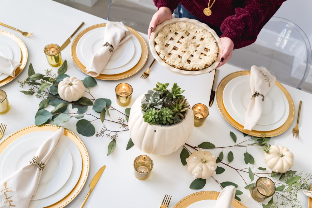 Modern Glam Fall Tablescape Thanksgiving Apple Pie Fancy Things