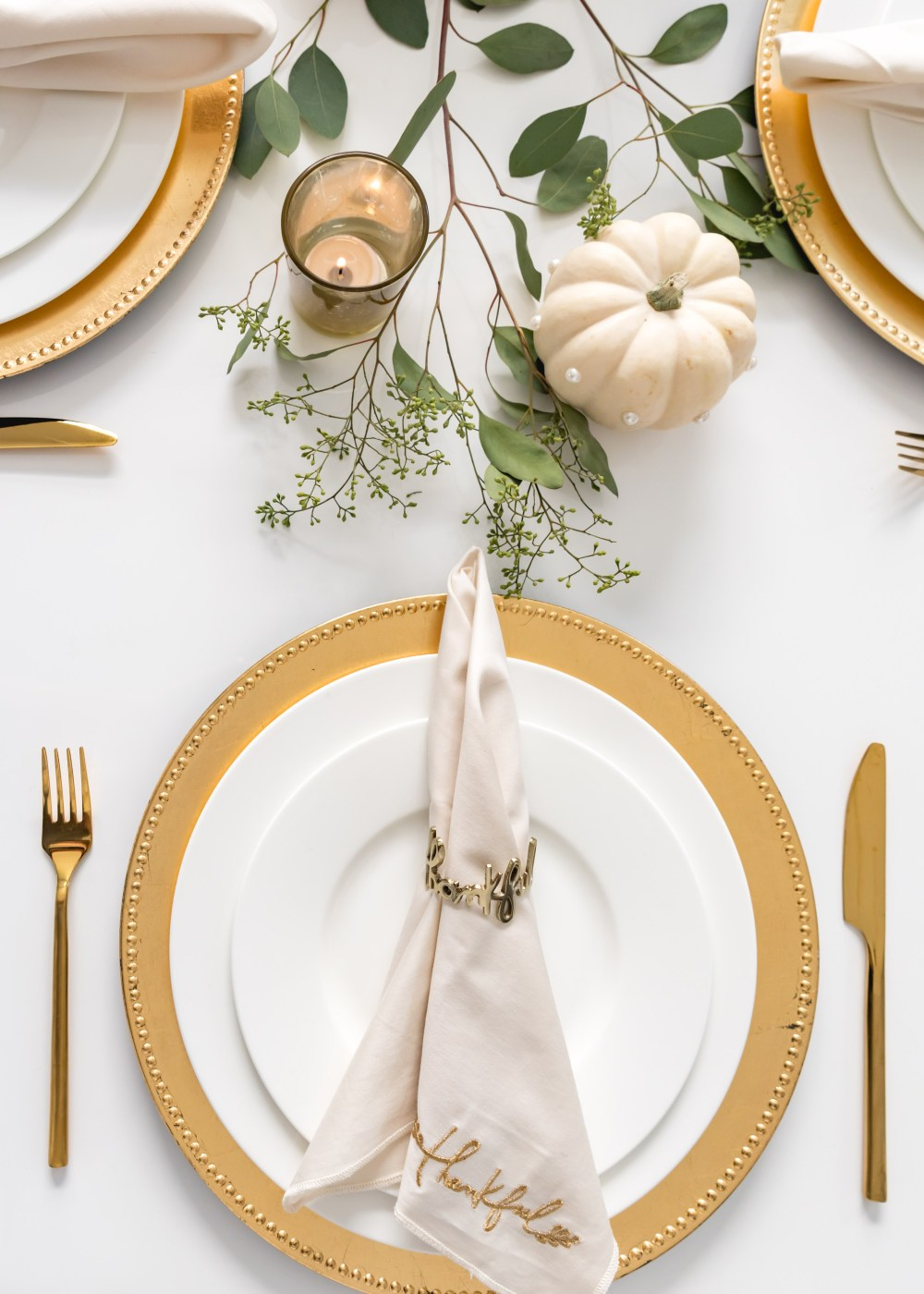 Thankful Napkin Ring and Napkin Crate and Barrel Fancy Things