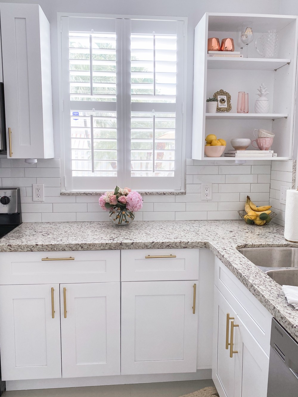 Gold Hardware White Cabinetry DIY Kitchen Remodel