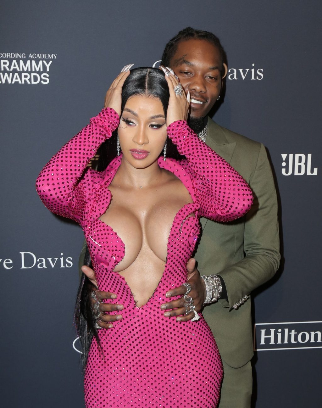 Offset Covers Cardi B's Boobs to Avoid Wardrobe Malfunction at Clive Davis Pre-Grammy Party (114 Photos)