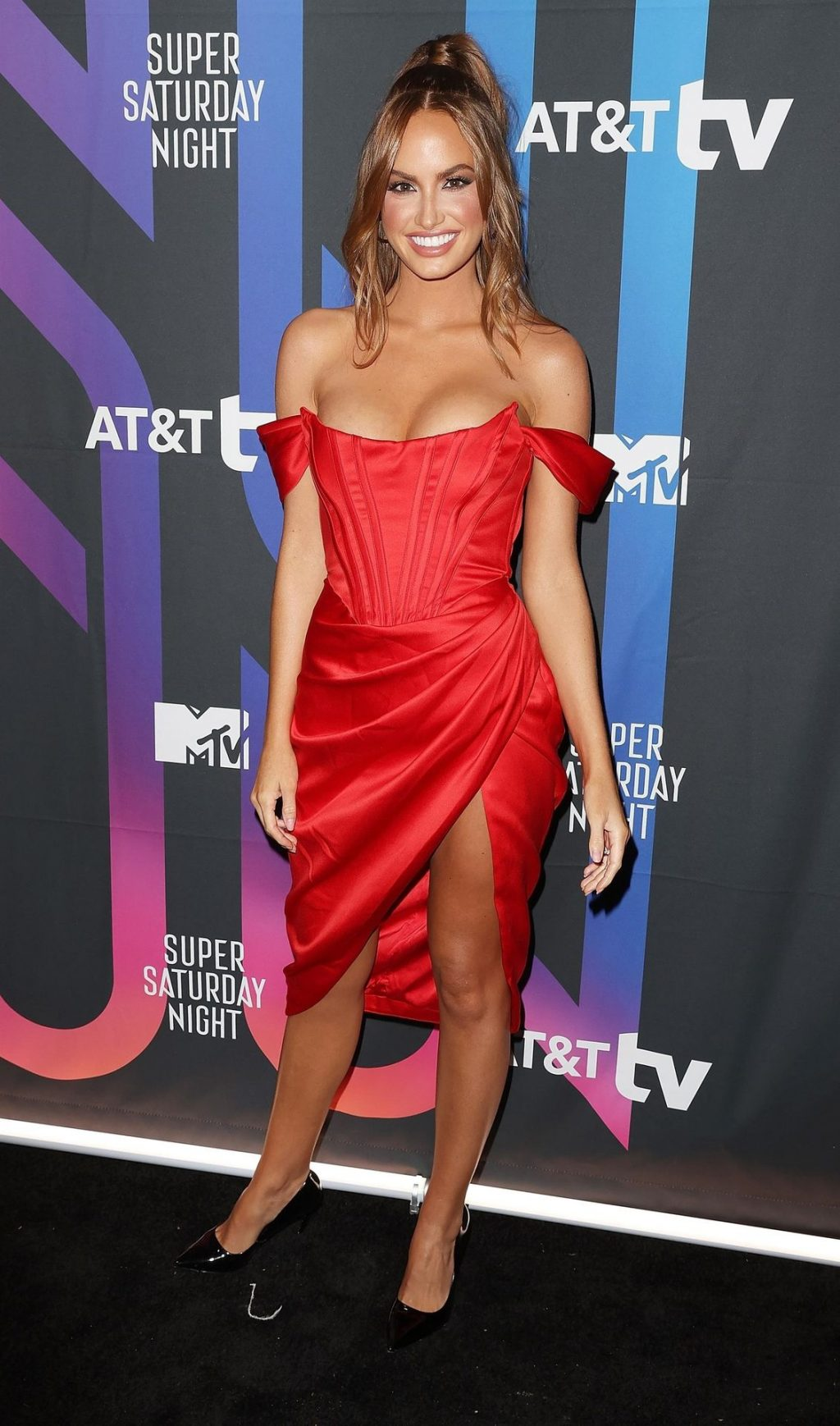 Sexy Model Haley Kalil Poses in a Red Dress at the AT&T Super Saturday Night Concert (15 Photos)