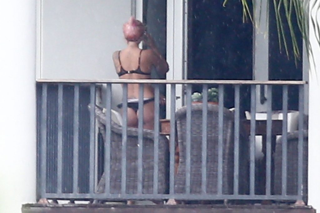 Lady Gaga Enjoys the Views from her Miami Balcony in her Underwear (16 Photos)
