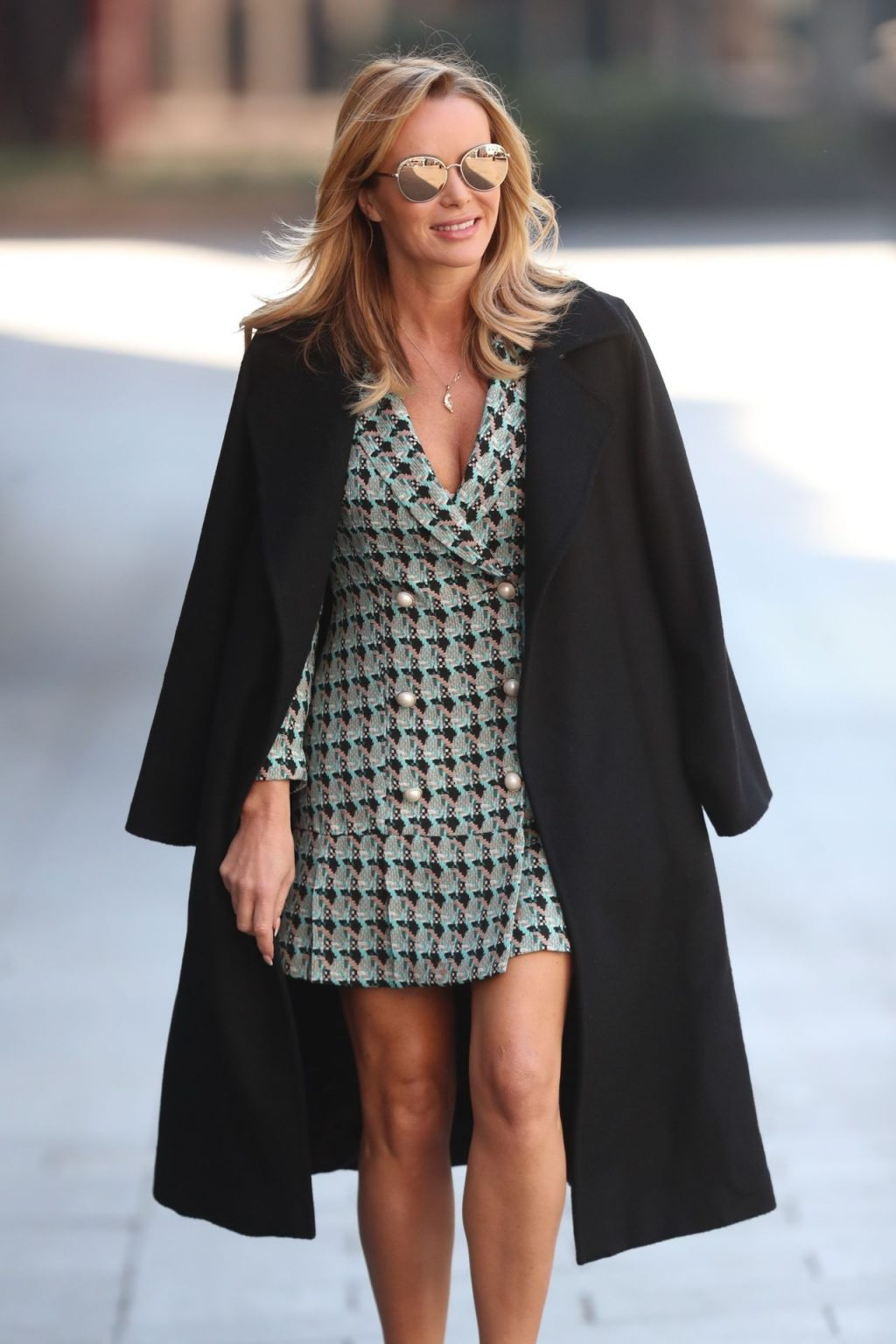 Amanda Holden Pictured While Leaving Heart Radio Show in Knitted Dress (14 Photos)
