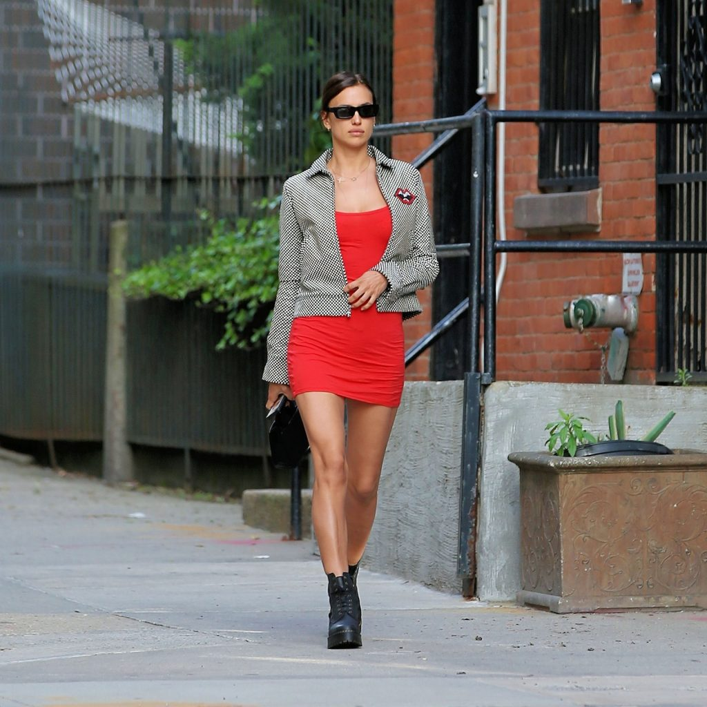 Leggy Irina Shayk Is Seen in a Short Red Dress (6 Photos)