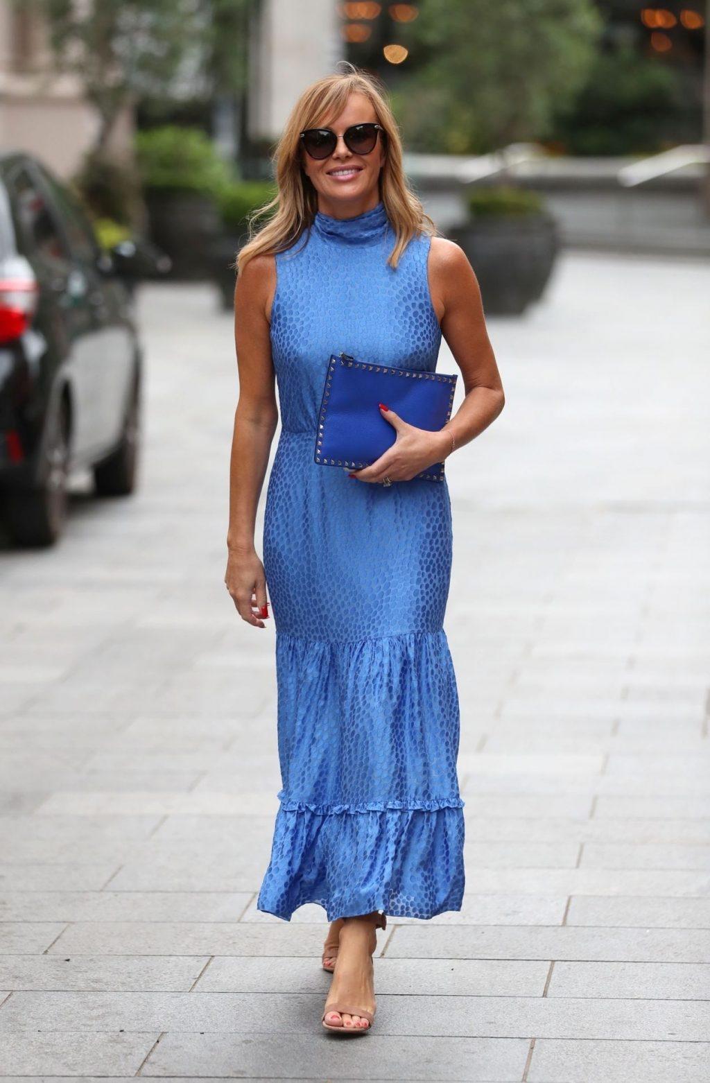 Amanda Holden Leaves Heart Breakfast Show Wearing A Blue Dress (70 Photos)