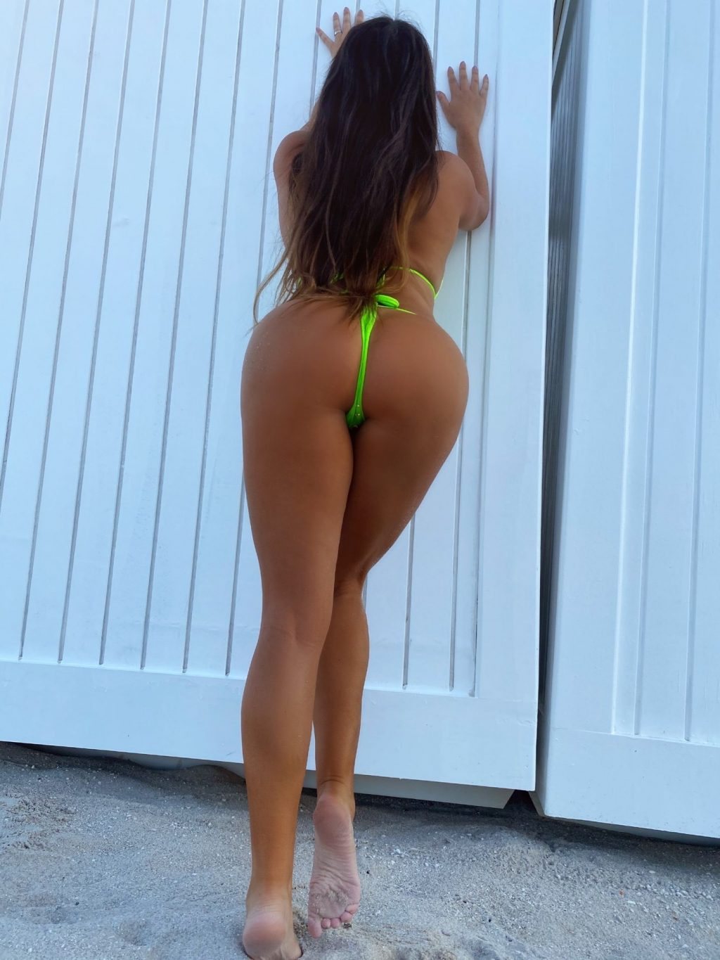 Claudia Romani Poses in a Neon Green Bling Bikini on Miami Beach (12 Photos)