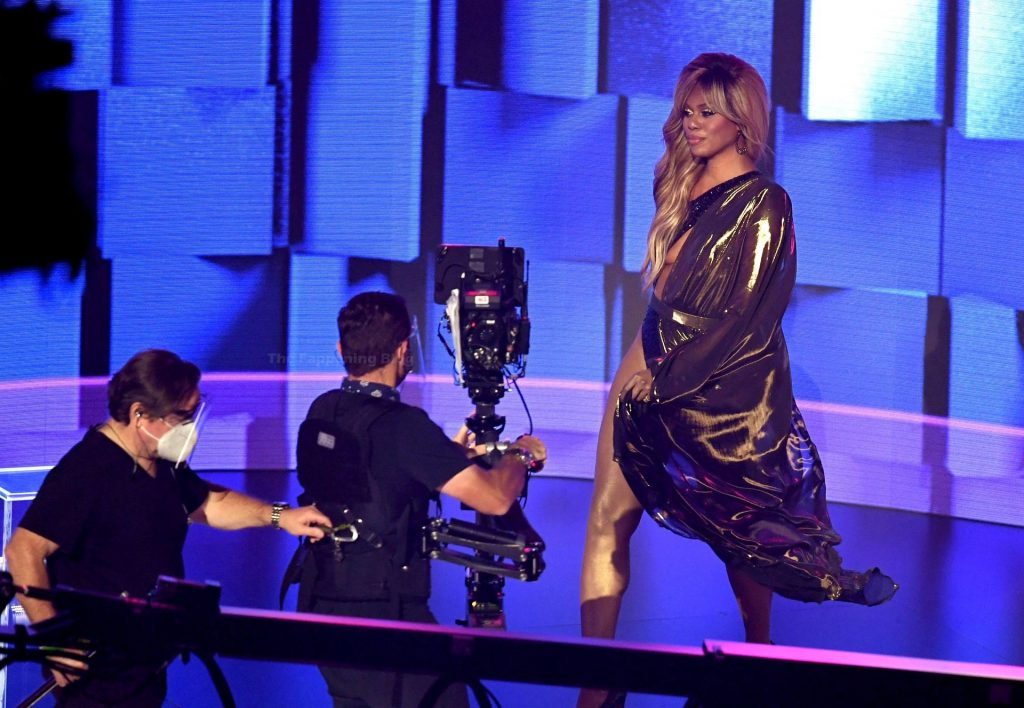 Laverne Cox Showcases Her Cleavage and Legs at the 2020 American Music Awards (10 Photos)