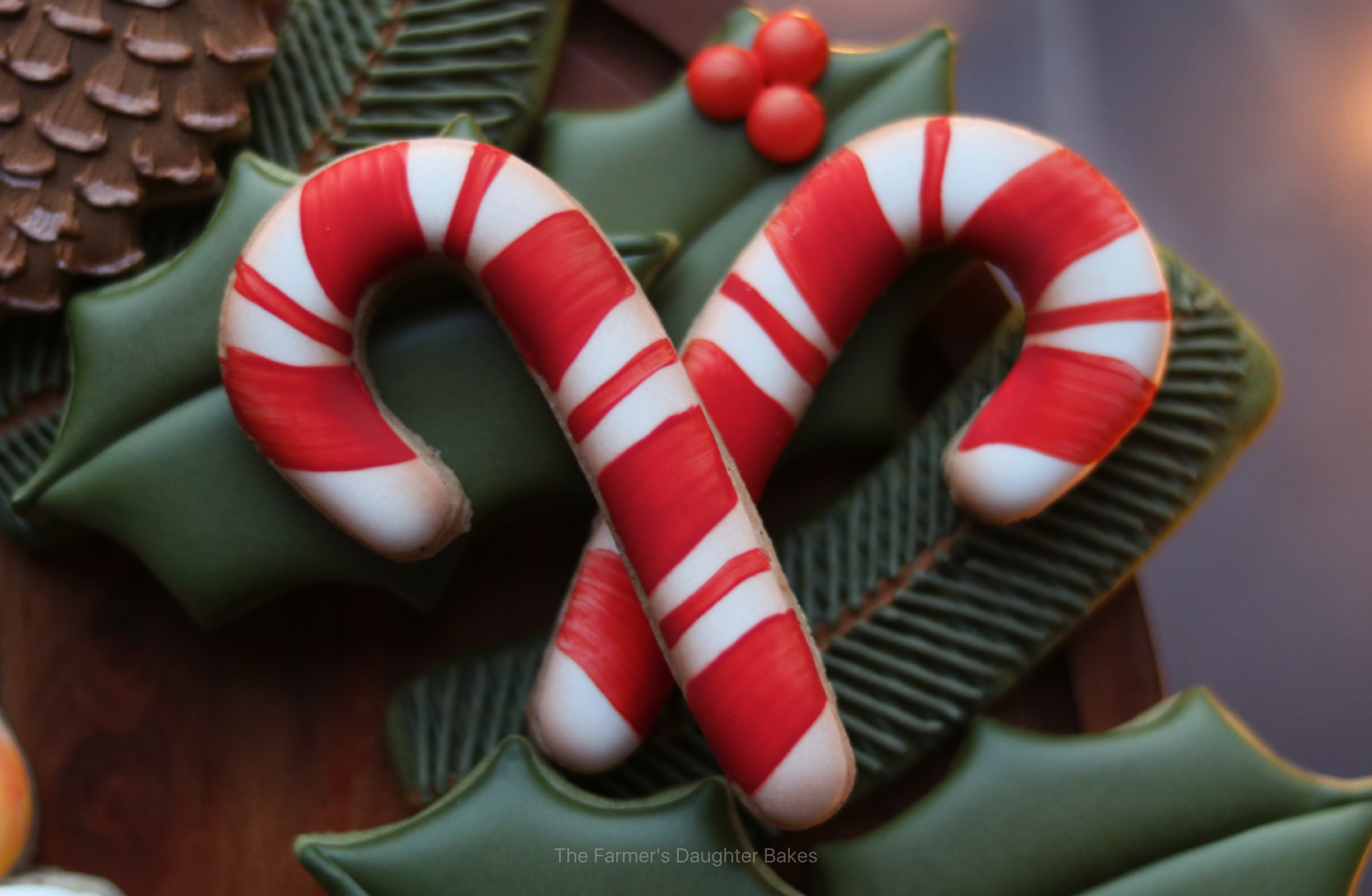 candy cane, cookies, candy cane cookies, holly cookies, christmas cookies, cookie wreath