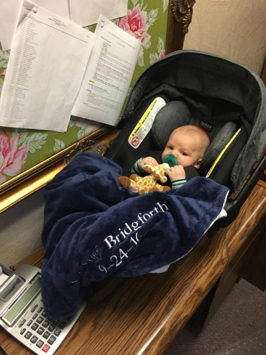 Baby's gotta earn his keep!