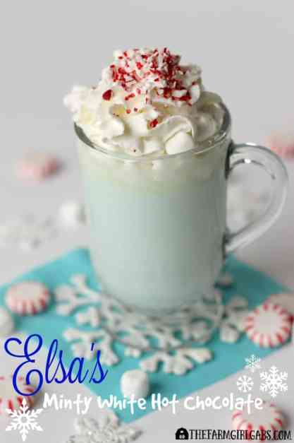 twenty super delicious hot drinks to warm you up during fall or winter! Elsa's Minty White Hot Chocolate, inspired by the Disney movie FROZEN, it the perfect drink to warm you up during the winter months.