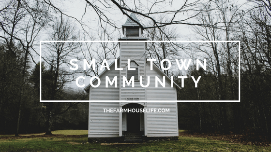A small church with the words Small Town Community.